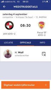Aanstelling scheidsrechter in KNVB Wedstrijdzaken App